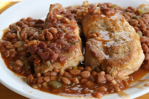 Simple Baked Beans and Pork Chop Recipe | Free Delicious ...