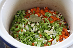 chopped veggies in slow cooker