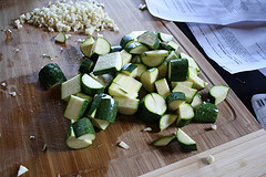 chopped garlic and zucchini