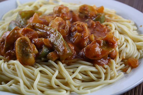 Italian Chicken and Peppers Spaghetti