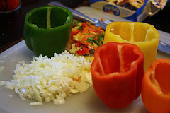 bell peppers and chopped onions