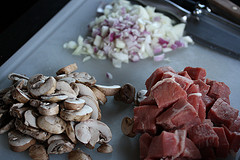 chopped onions, mushrooms and meat