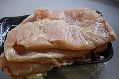 flattened chicken breasts