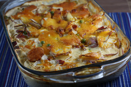 Cream Cheese and Ham Scalloped Potatoes