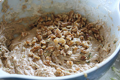 zucchini muffin batter and nuts