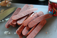 sliced hot dogs