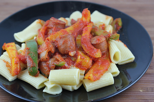Smoked Andouille Sausage with Peppers and Rigatoni Recipe