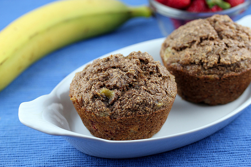 Whole Wheat Banana Strawberry Muffins