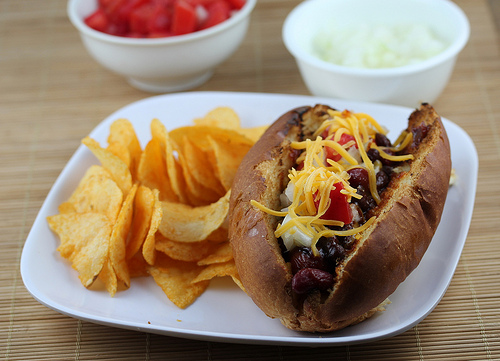 Grilled BBQ Chili Dogs