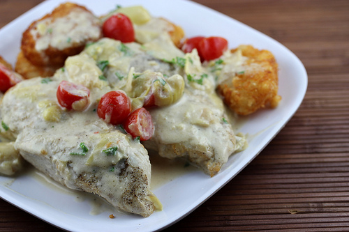 Parmesan Chicken with Artichokes and Tomatoes Recipe