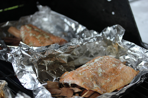 Grilled Salmon on Hickory Chips