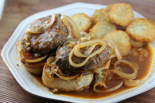 French Onion Salisbury Steaks on Italian Baguette