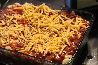 Sloppy Joe Casserole ready to bake