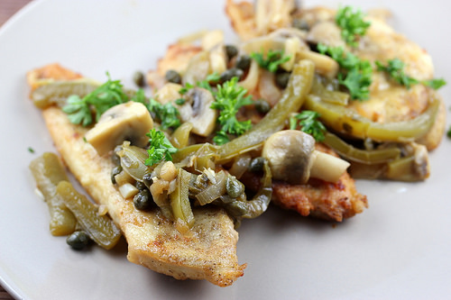Chicken Scaloppini with Peppers and Mushrooms Recipe