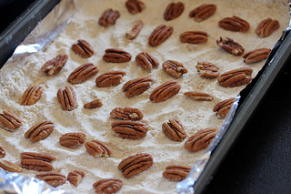 layering Caramel and Chocolate Pecan Bars