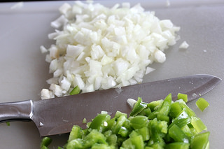 chopped green pepper and onions