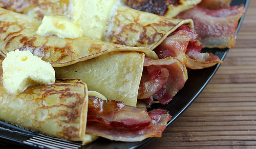 swedish pancakes and bacon roll ups
