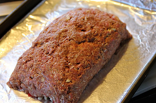 stuffed meat loaf ready for oven