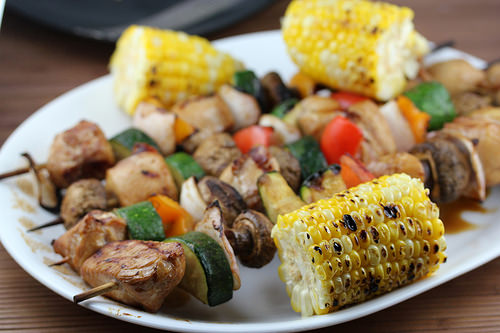 14718012081_0d0d4c704dGrilled Oriental Chicken Kabobs recipe with grilled Corn on the Cob