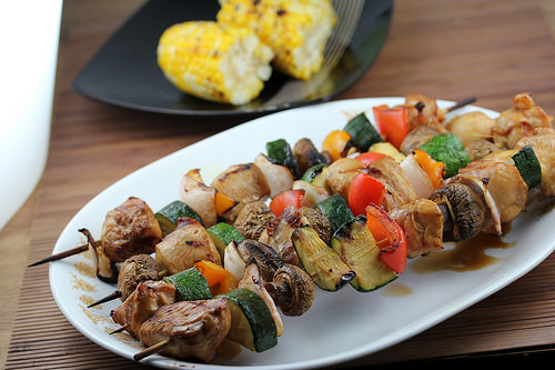 Grilled Oriental Chicken Kabobs recipe with grilled Corn on the Cob plain