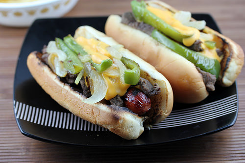 philly cheese steak hot dogs
