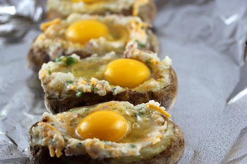 Raw Twice Baked Potatoes with Bacon and Eggs