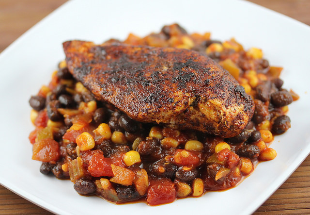 ... blackened salmon with crunchy coconut couscous blackened chicken elly