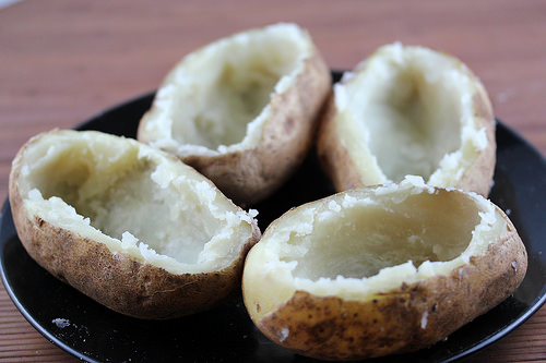 hollowed out potatoes