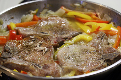 Pork chops with vinegar and sweet peppers recipe free delicious cooking vinegar pork chops ccuart Images