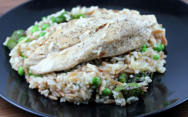 chicken and rice with spring vegetables recipe