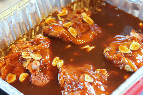 bbq chicken thighs in roasting pan