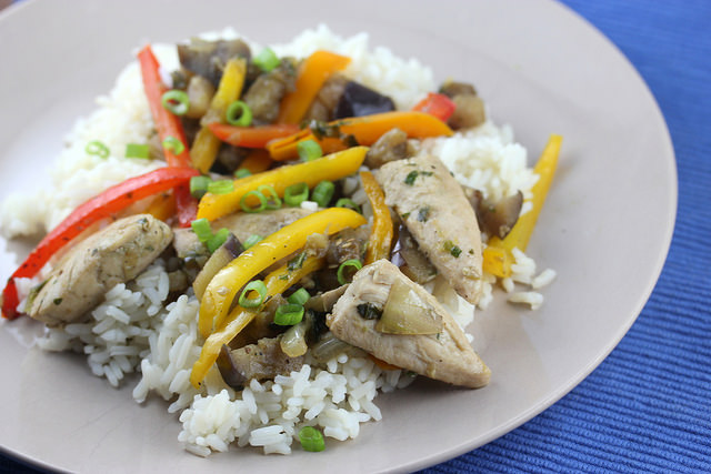 Chicken Stir-fry with eggplant and basil recipe