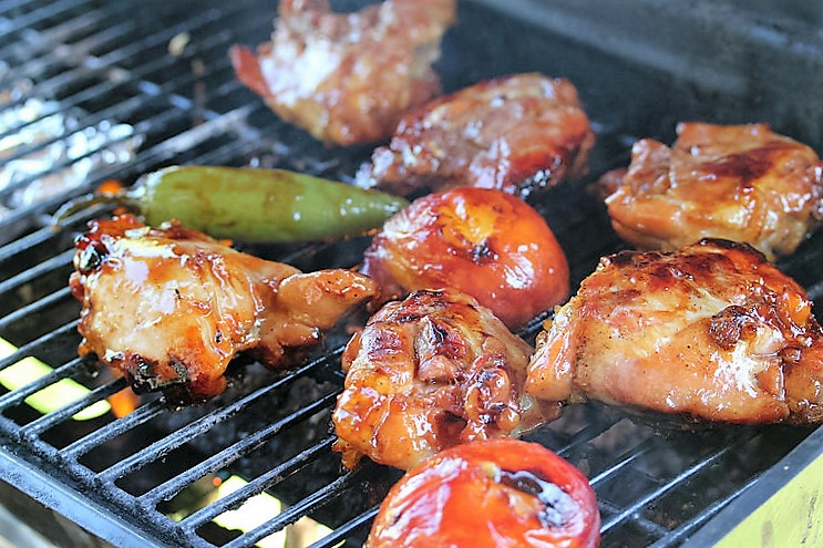 Peach-Glazed Grilled Chicken grilling