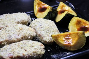 Parmesan crusted pork chops with glazed winter squash recipe prep picture 2