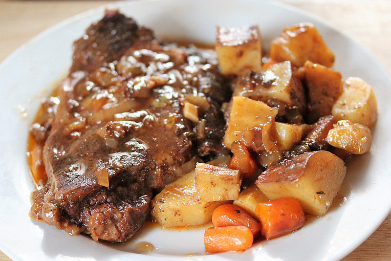 Slow-Cooker Braised Steaks with Root Vegetables recipe picture