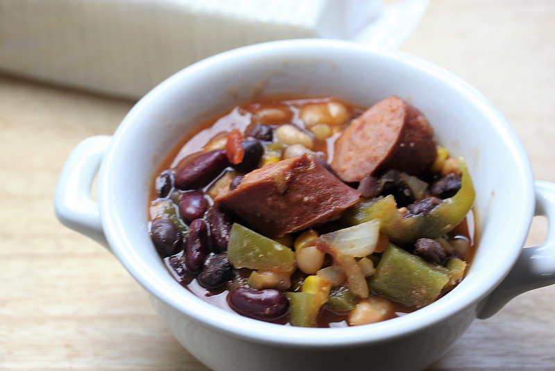 Slow Cooker Spicy Beans with Smoked Turkey Sausage 2